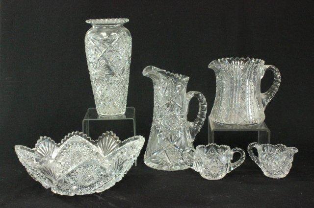 6 pieces cut glass