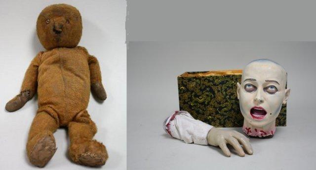 Antique hand sewn Teddy bear & painted head & hand