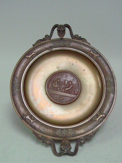 French Neo-Classic style bronze platter