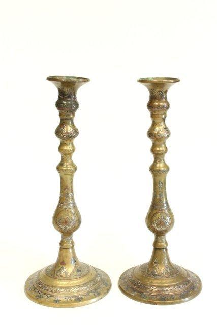 Damascene inlaid mixed metal candlesticks