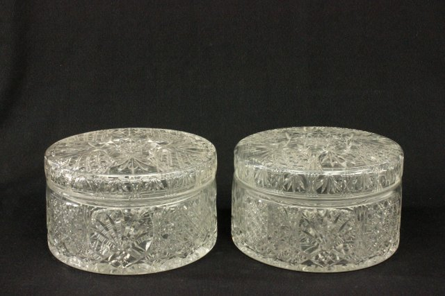 Pair cut glass covered cookie jars