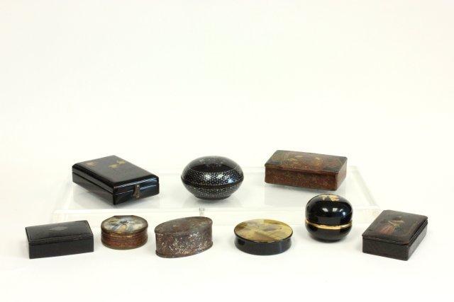 Papier-mâché & lacquered, metal snuff boxes