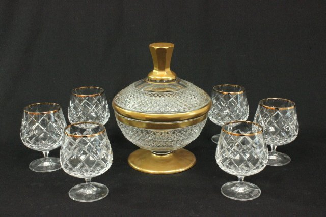 Cut crystal ice bucket & 6 glasses