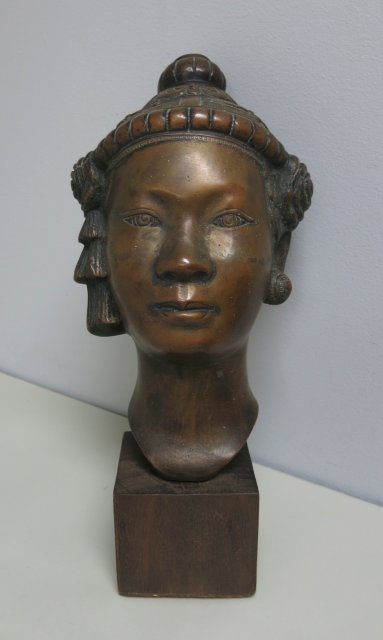 Khmer style bronze bust on wood stand