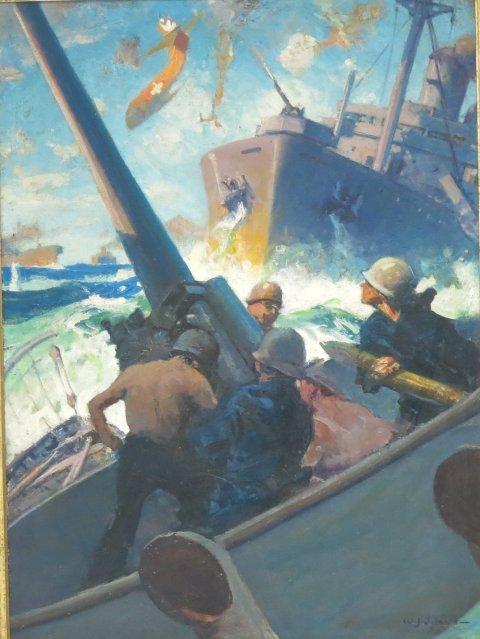 """""""WWII Battle Scene"""", W.J. Aylward"""