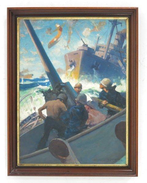 """""""WWII Battle Scene"""", W.J. Aylward - 2"""