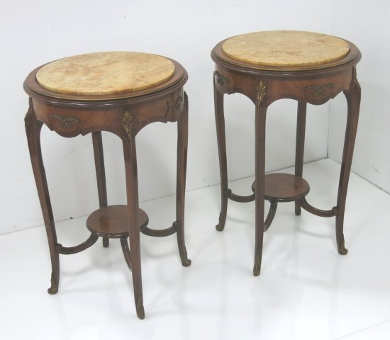 Pair marble top French style lamp tables