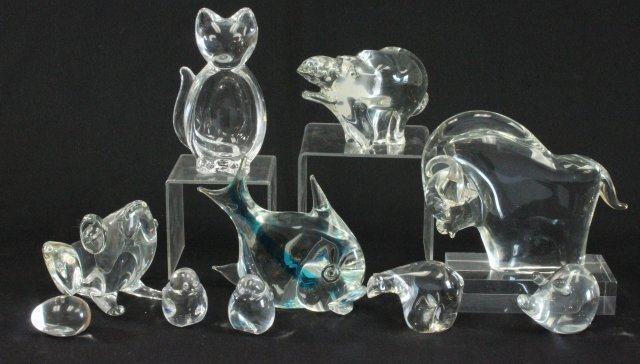 Group lot of 10 glass figurines