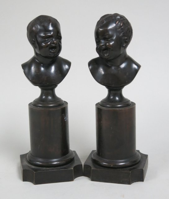 Pair bronze busts of babies
