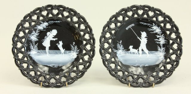 Pair Westmoreland Mary Gregory reticulated plates