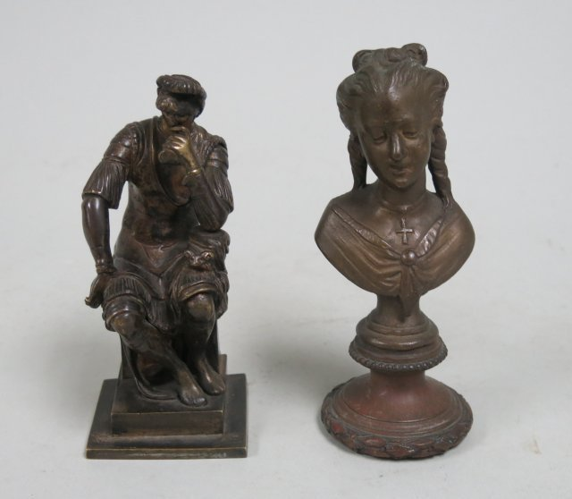 Lot of 2 small cabinet size bronze figures