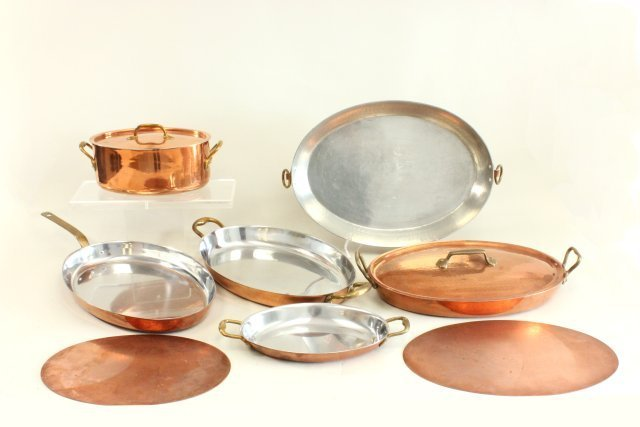 Group of Belgian copper cookware by Judge