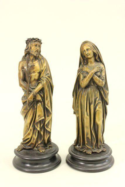 Pair bronze figures on marble pedestals