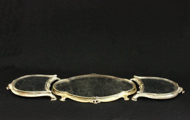 Italian Silvered Metal Art Nouveau 3 Section Plateau