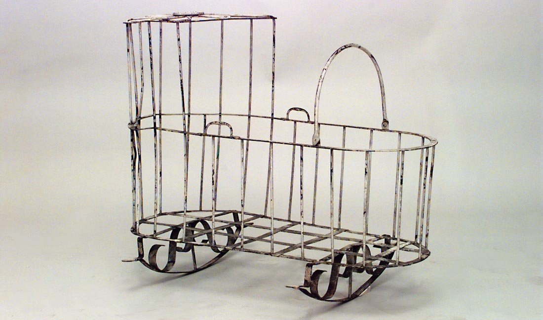 Victorian White Painted Wrought Iron Crib