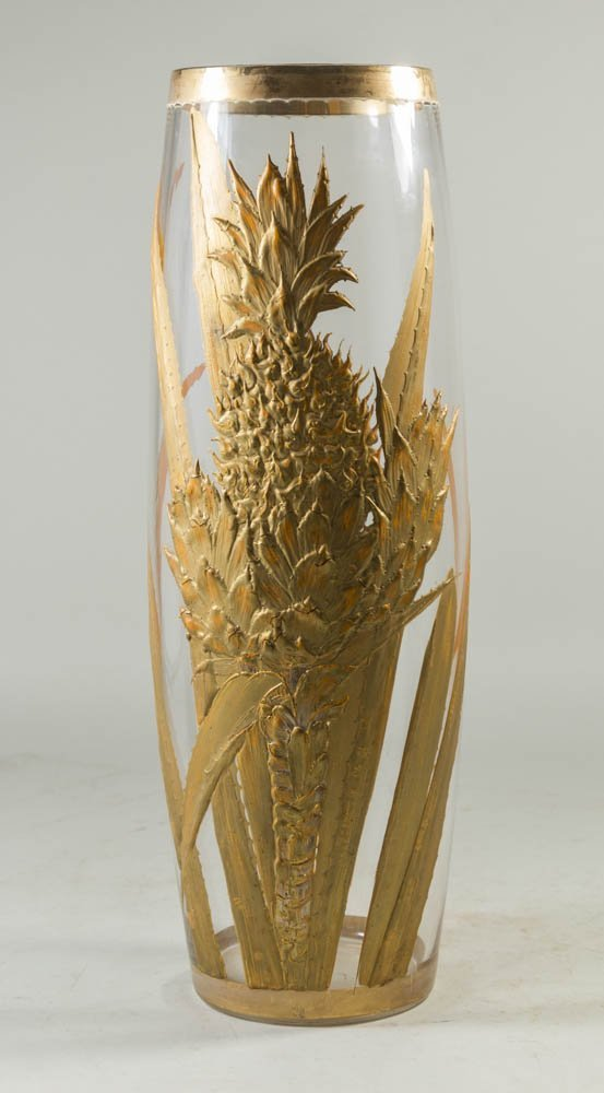 Floral Glass Vase with Gold Overlay