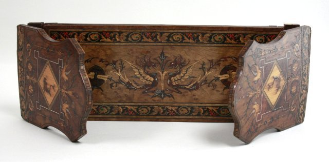 Inlaid Wood Book Rack, Bird & Floral Design