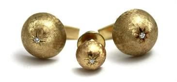 Three piece 14kt gold & diamond stud set