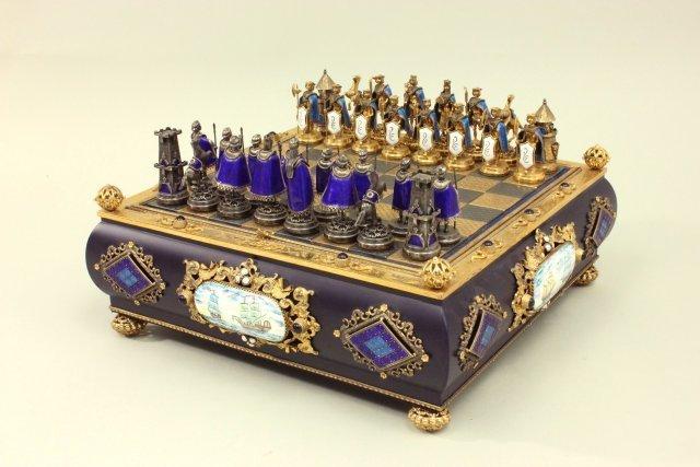 Enamel & Silver Jeweled Chess Set