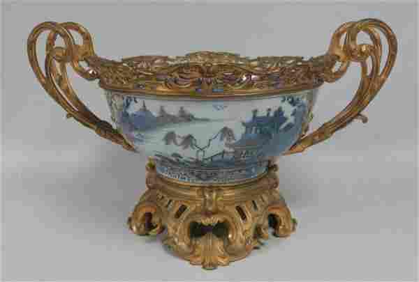 Chinese Bronze Mounted Porcelain Bowl