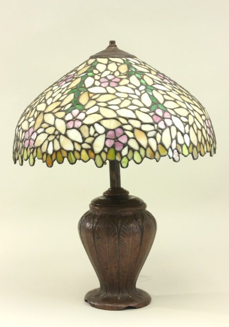 Handel Bronze Lamp with Leaded Glass Shade