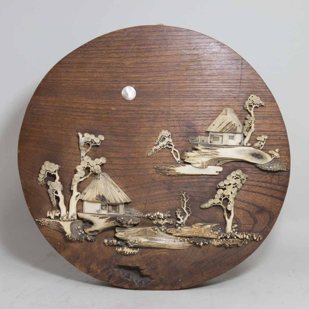 Asian Wall Plaque with Applied Bone Carving