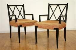 Pair of American 50s Black Painted Armchairs