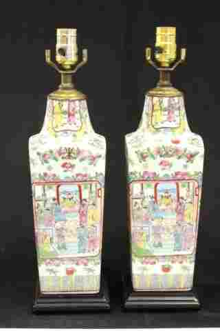 Pair Chinese Rose Medallion vases mounted as lamps