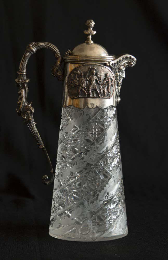 Cutglass & Silverplate Over Bronze Figural Pitcher