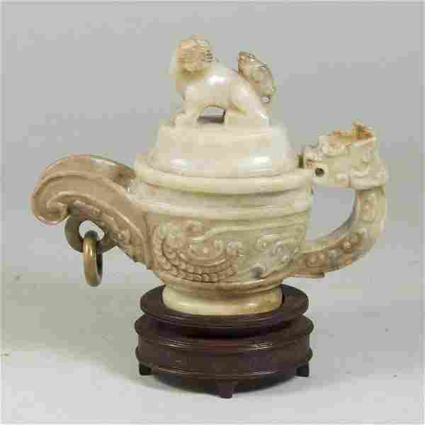 Carved Hardstone Chinese Covered Teapot on Base