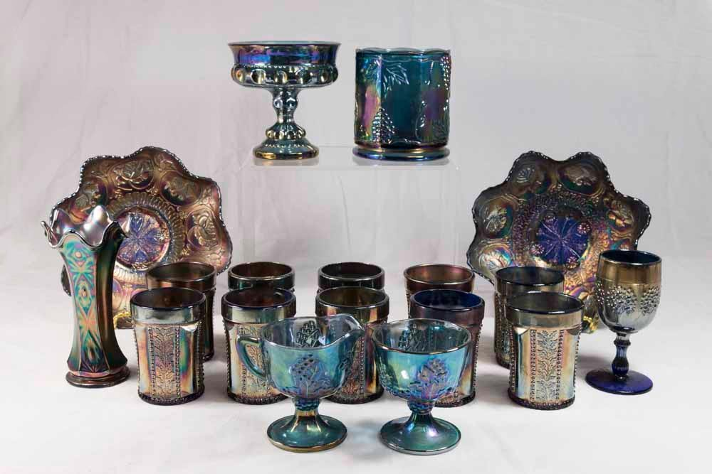 Group Lot of Blue Carnival Glass