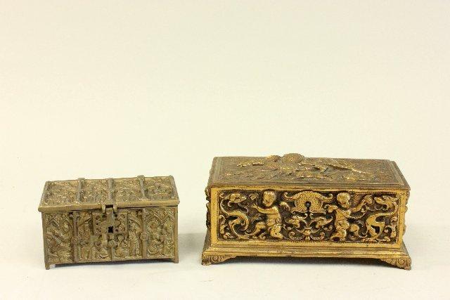 2 Bronze Figural Boxes