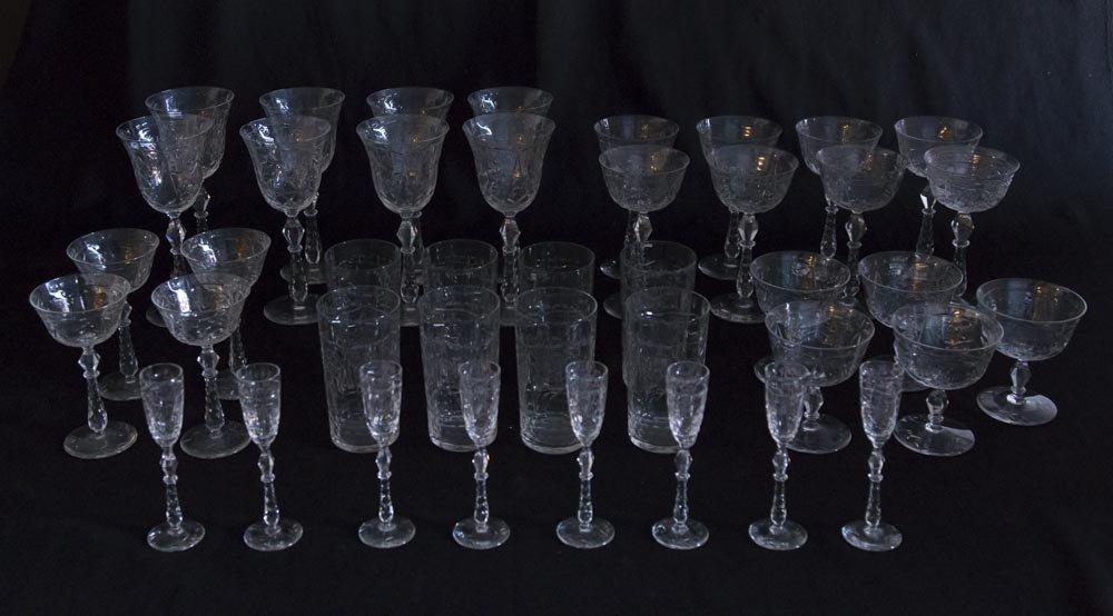 Set of Cut Glass Stemware