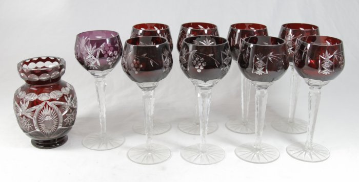 Set of Cut to Clear Cut Glass Wine Stems