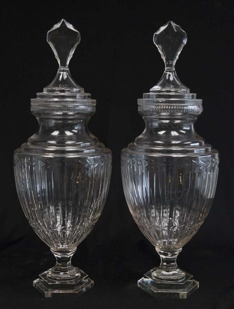 Pair Cut Glass Apothecary Jars