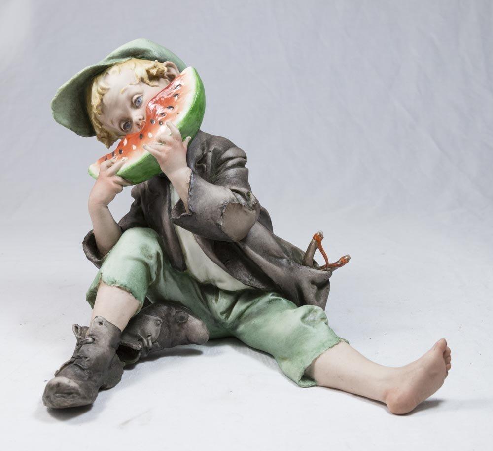 G. Cappe Porcelain Figure, Watermelon Eater