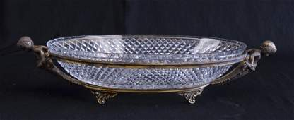 Bronze  Cut Glass Figural Center Bowl