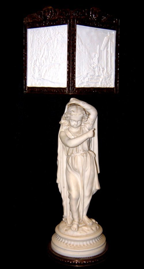 22: BISQUE FIGURE WITH LITHOPANE SHADE