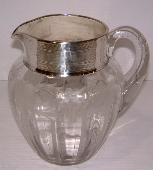 24: PITCHER WITH STERLING SILVER BAND