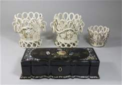 Mother of Pearl Glove Box & 3 Various Planters