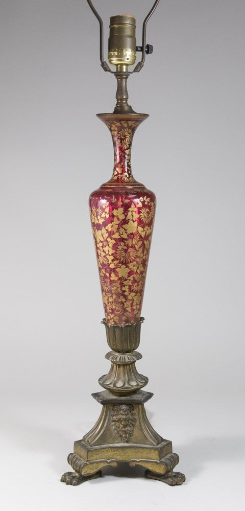 Antique Cranberry Glass Lamp