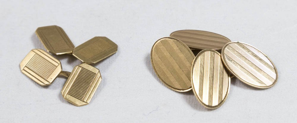 2 Pair 14K Gold Cufflinks
