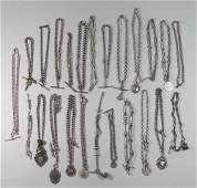 24 Silver Pocket Watches Chains & Fobs