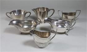 Lot Silver Creamer  Sugar Bowls  2 Gravy Boats