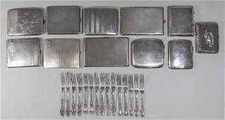 Lot Sterling Silver Cigarette Cases & Forks