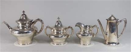 4 Pieces Sterling Silver Teaset  Cocoa Pot