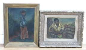 2 Primitive Afro-American Paintings