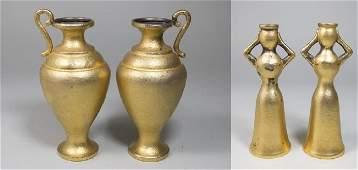 Pr Greek Silver Vases & Pr Figural Candleholders