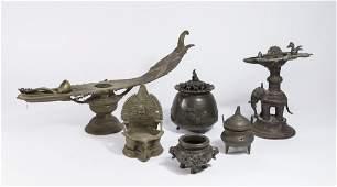 6 Bronze Asian Items
