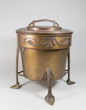 Arts And Crafts Copper & Gilt Brass Footed Cooler